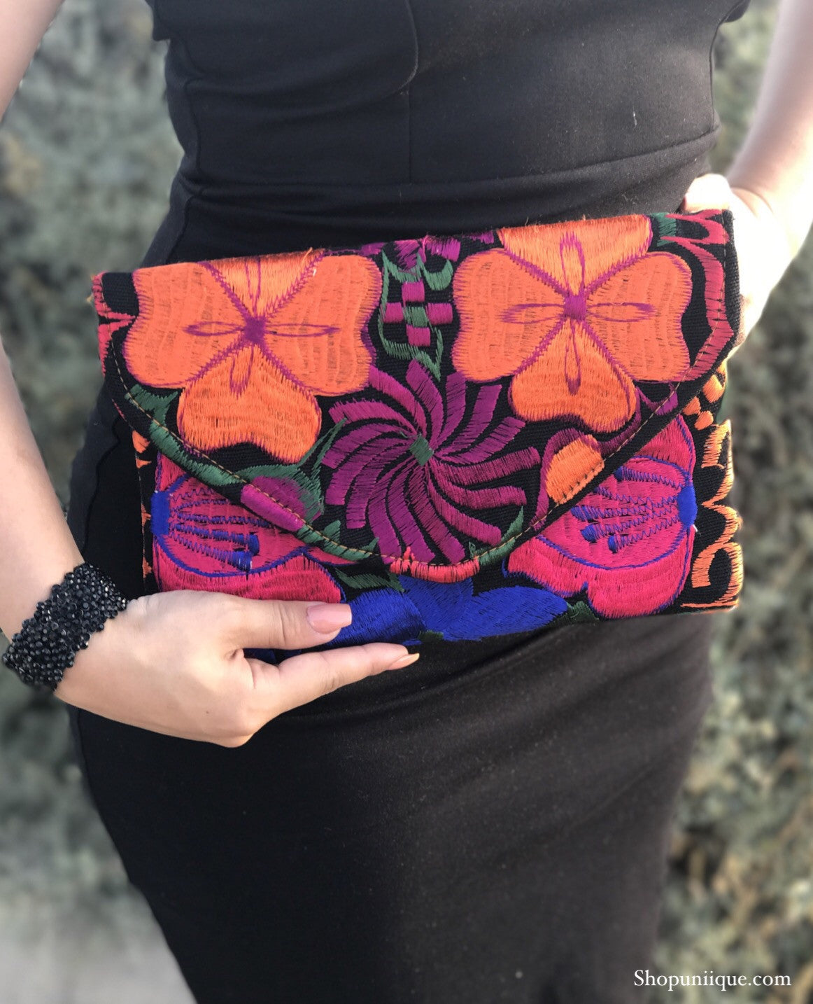 Medium Black Floral Clutch