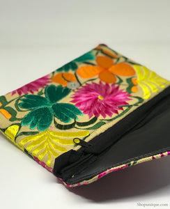 Floral Ivory Cross Body Clutch