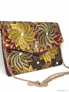 Burgundy Cross Body Clutch