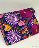 Medium Floral Blue Clutch