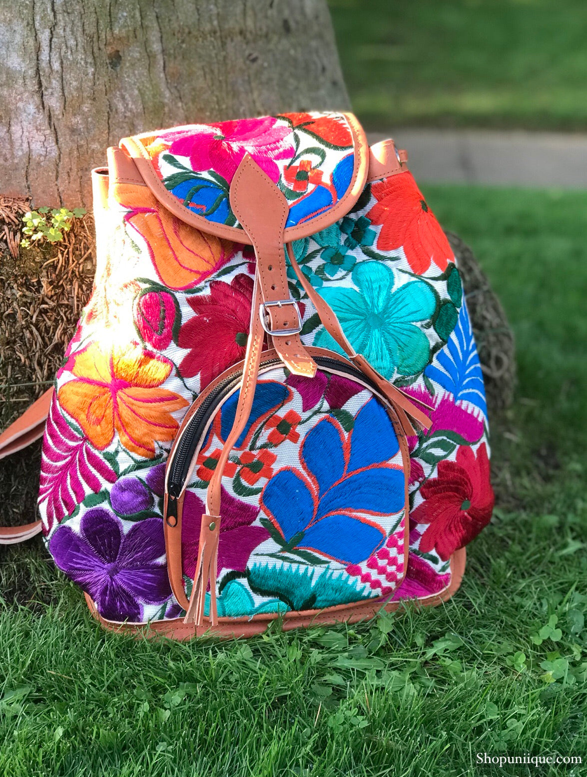 Floral White Backpack