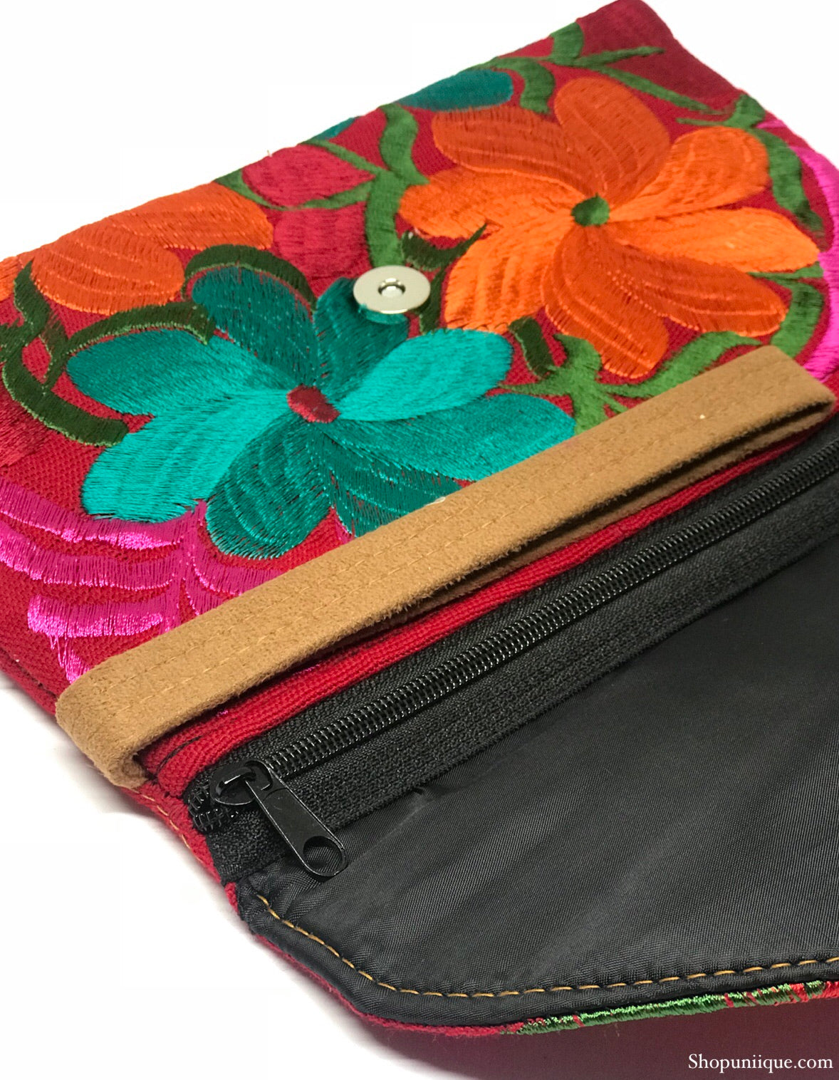 Medium Floral Cherry Red Clutch