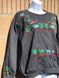 Gray Cactus Embroidered Sweater