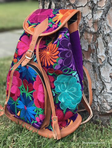 Purple Floral Backpack