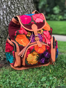 Multi Pocket Floral Burgundy Backpack