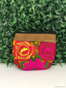 Floral Amber Yellow Coin Purse