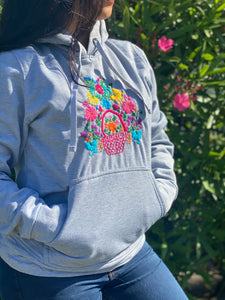 Grey Hand Embroidered Hoodie