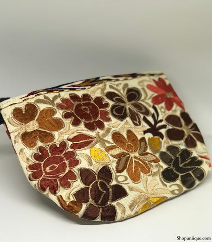 White & Brown Cosmetic Bag
