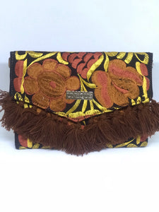 Brown Tassel Clutch