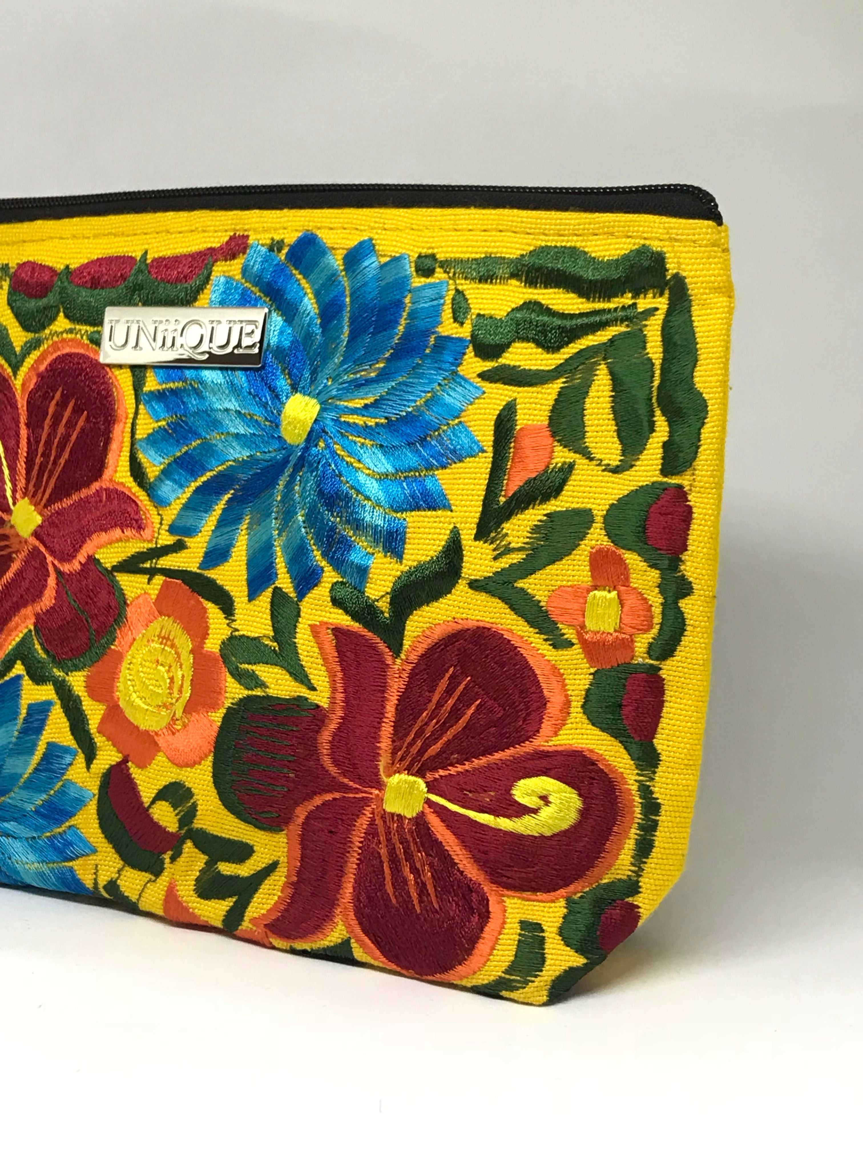 Floral Yellow Cosmetic Bag