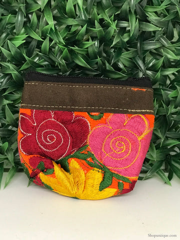 Floral Orange Coin Purse