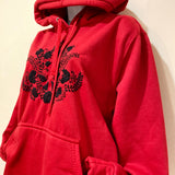 Red Hand Embroidered Hoodie