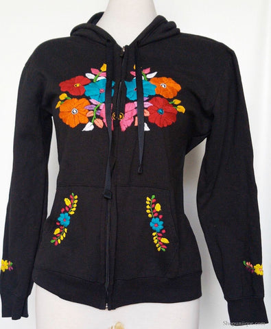 Black Embroidered Zipper Hoodie