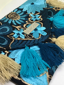 Black and Blue Tassel Clutch