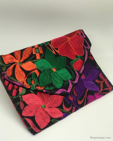Medium Floral Black Clutch