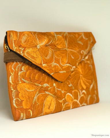 Orange Cross Body Clutch