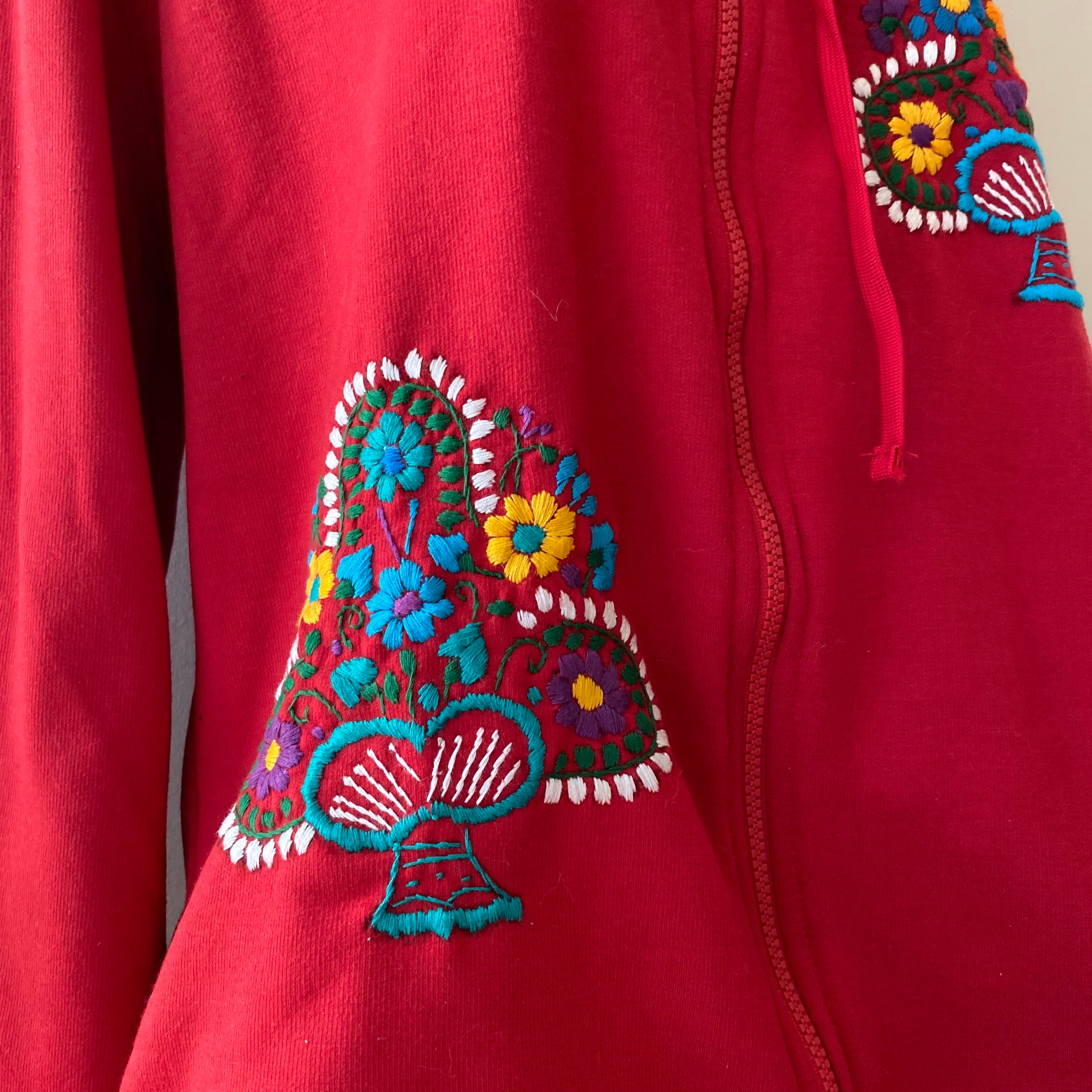 Red Hand Embroidered Zipper Hoodie