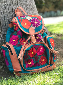 Multi Pocket Turquoise Backpack