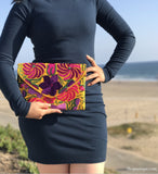 Medium Yellow Floral Clutch