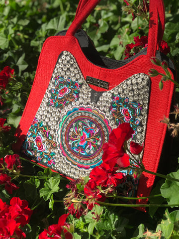 Red Floral Purse