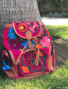 Multi Pocket Pink Backpack