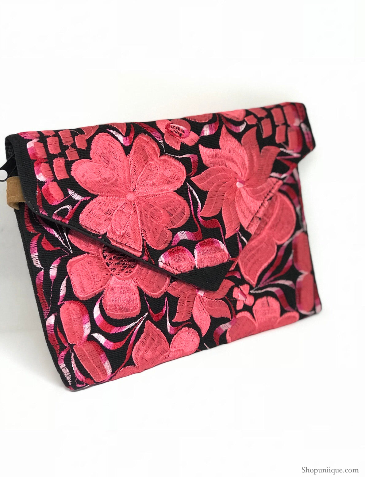 Black and Pink Cross Body Clutch