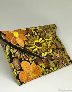 Floral Black & Yellow Clutch