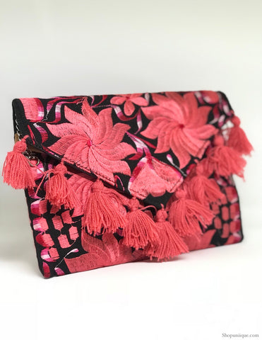 Black and Pink Tassel Cross Body