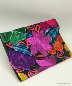 Medium Floral Jet-Black Clutch