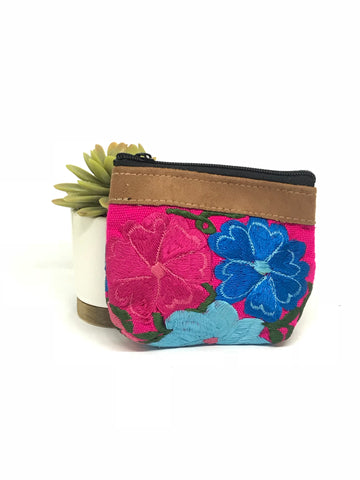 Floral Dark Pink Coin Purse