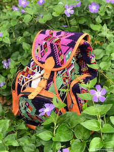Multi Pocket Purple Hand Woven Backpack