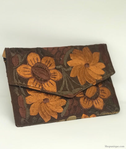 Medium Floral Dark Brown Clutch
