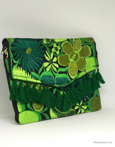 Green Tassel Clutch