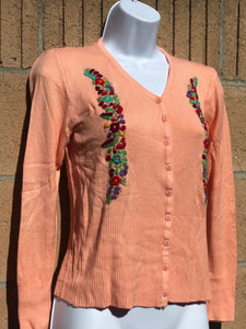 Peach Embroidered Cardigan