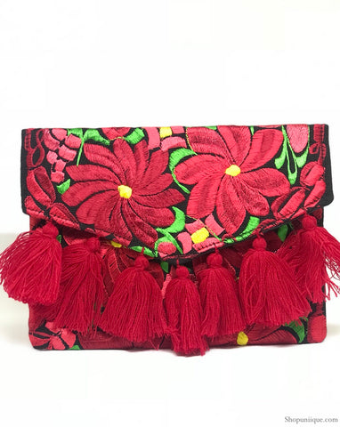 Black and Red Tassel Clutch