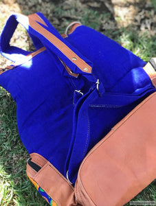 Multi Pocket Blue Backpack