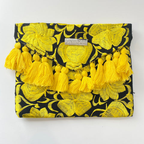 Black and Yellow Tassel Clutch