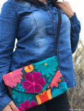 Medium Blue Floral Cross Body Clutch
