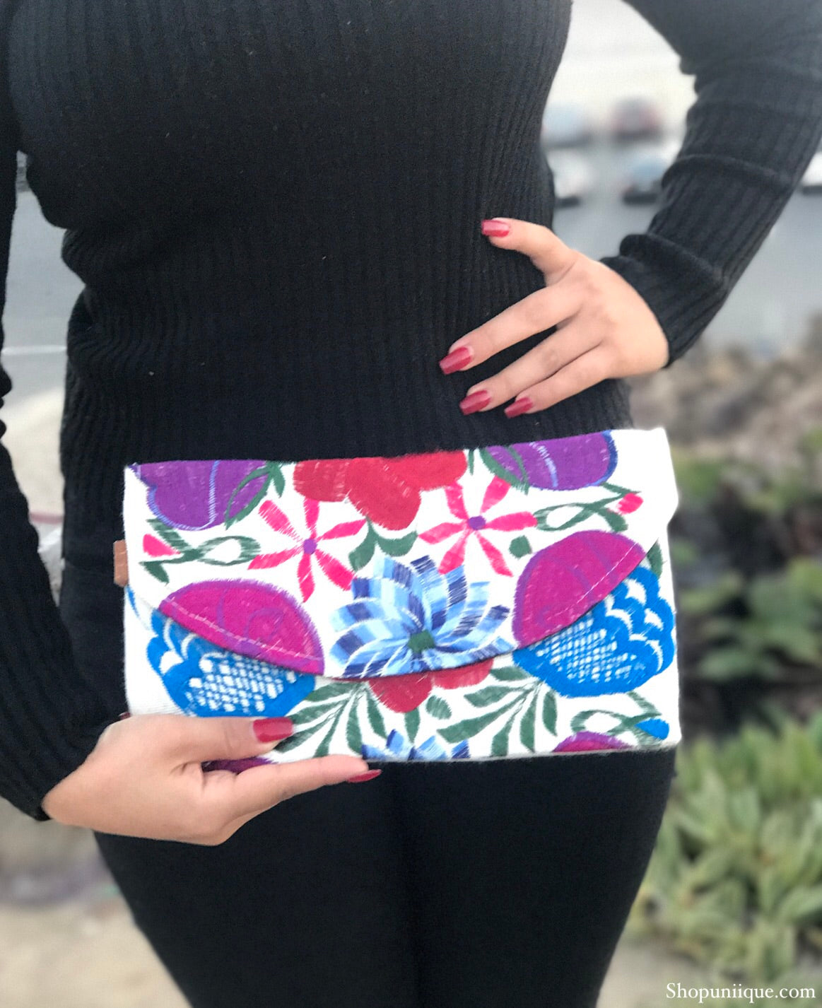 Small White Floral Clutch