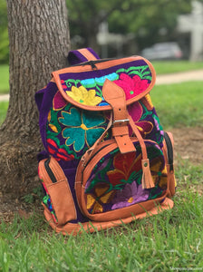 Multi Pocket Purple Backpack