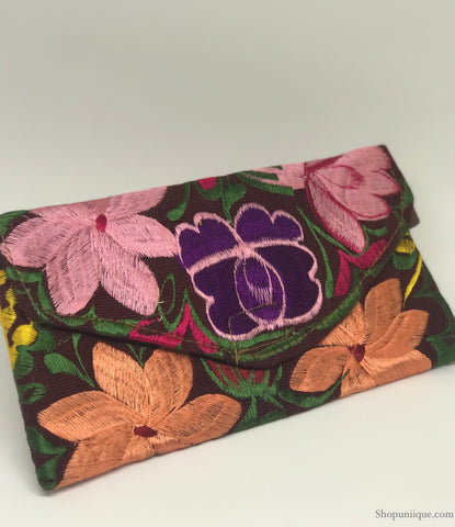 Small Floral Burgundy Clutch