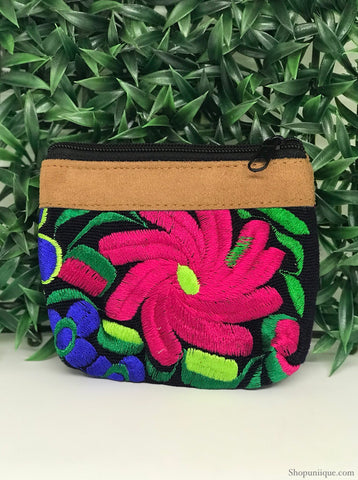 Floral Jet-Black Coin Purse