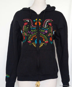 Black Hand Embroidered Zipper Hoodie