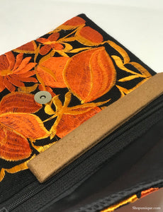 Medium Black and Orange Clutch