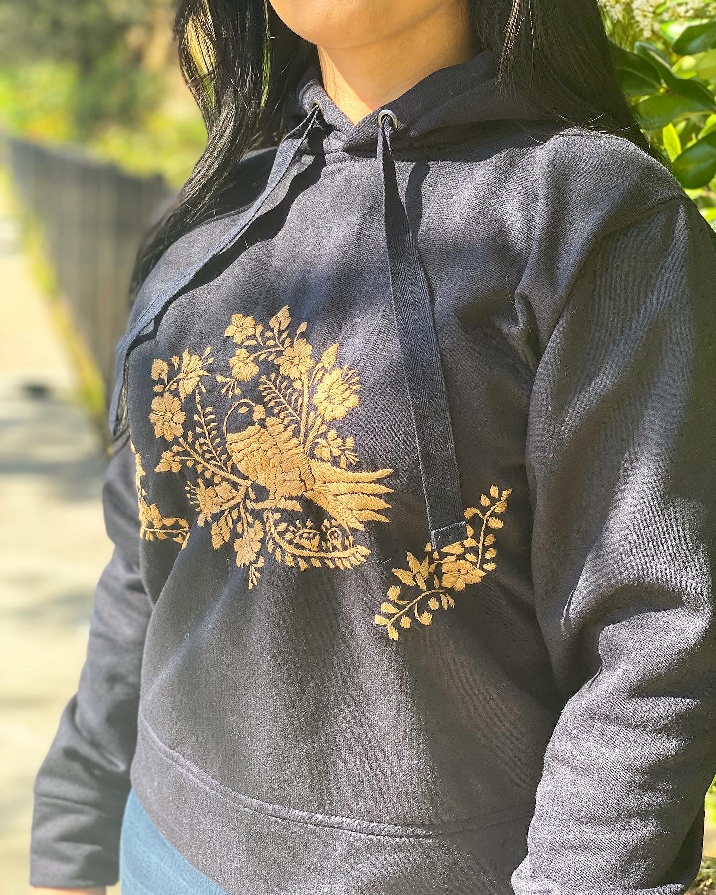 Navy Blue Hand Embroidered Hoodie