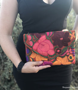 Medium Orange Red Floral Clutch