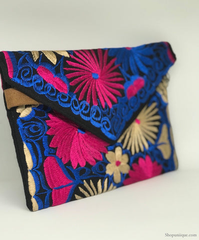 Floral Black Cross Body Clutch