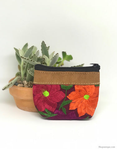 Floral Burgundy Coin Purse