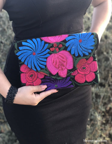 Medium Black and Pink Clutch