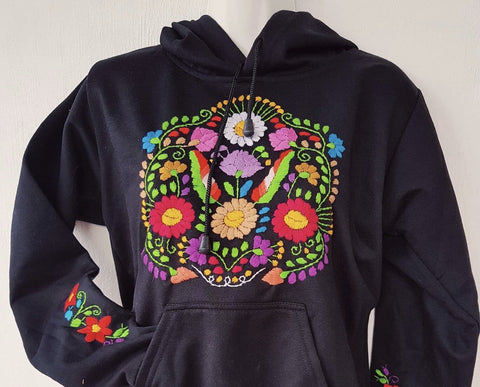 Black Hand Embroidered Hoodie